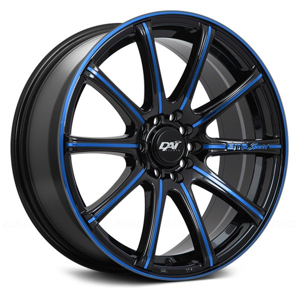 Dai Alloys 174 A Team Wheels Gloss Black With Blue Accents Rims