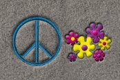"DashMat® - Embroidery ""Peace Sign with flowers"" Logo"