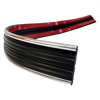 "Dawn® - 1 1/4"" Wide Matte Black Running Board Molding with Chrome Edges"