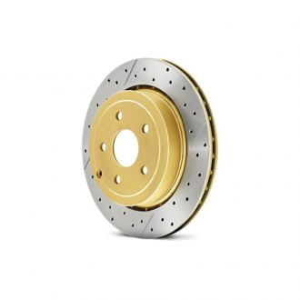 DBA® - Street Series™ X-GOLD Drilled and Slotted Vented 1-Piece Front Brake Rotor