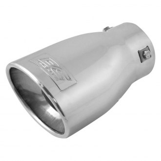DC Sports® - Stainless Steel Oval Non-Resonated Angle Cut Bolt-On Polished Exhaust Tip