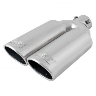 "DC Sports® - Stainless Steel Oval Non-Resonated Angle Cut Bolt-On Dual Polished Exhaust Tip (2.375"" Inlet, 13"" Length)"