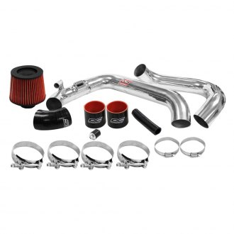 DC Sports® - Aluminum Powder Coated Silver Cold Air Intake System with Red Filter