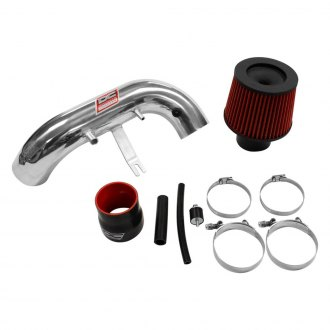 DC Sports® - Aluminum Powder Coated Silver Short Ram Air Intake System with Red Filter