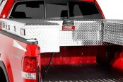 Image may not reflect your exact vehicle! Dee Zee® - Red Label Brite Diamond-Tread Crossover Tool Boxes Installed