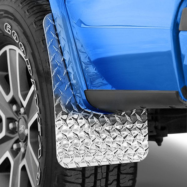 Image may not reflect your exact vehicle! Dee Zee® - Silver Diamond Plate Mud Flaps