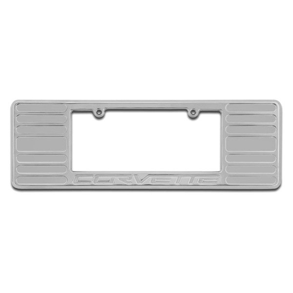 DefenderWorx® - Corvette Logo on Chrome License Frame