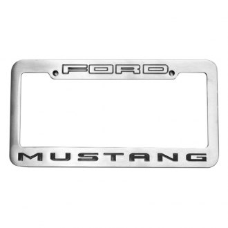 DefenderWorx® - Ford Mustang Logo on Two Tone Brushed License Frame