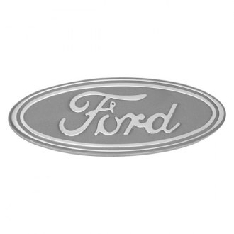 "DefenderWorx® - 9"" Silver Oval Grille / Tailgate Emblem with Ford Logo"