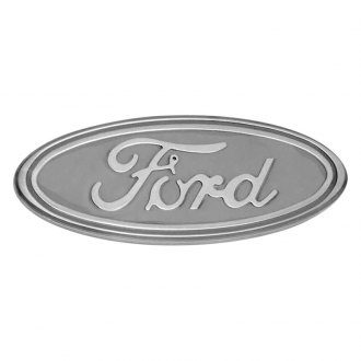 "DefenderWorx® - 9"" Gloss White Oval Grille / Tailgate Emblem with Ford Logo"