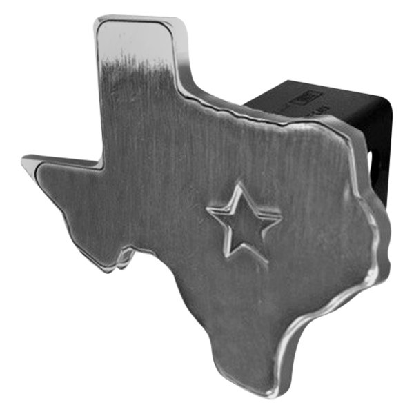 DefenderWorx® - Polished Hitch Cover - Texas State Cutout with Raised Star Style
