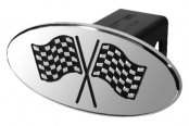 DefenderWorx® - Black Hitch Cover - Racing Flags Style