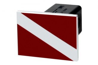 DefenderWorx® - Red / Polished Hitch Cover - Divers Flag Style