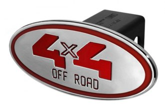 DefenderWorx® - Oval Hitch Cover with Red 4 X 4 Off Road Logo