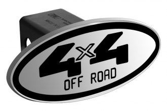 DefenderWorx® - Oval Hitch Cover with Black 4 x 4 Off Road Logo