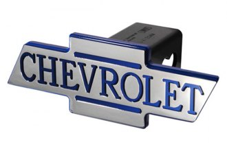 DefenderWorx® - Chevy Style Blue Hitch Cover with Inscribed Cutout Bowtie