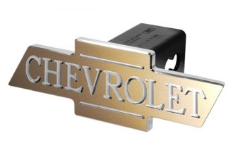 DefenderWorx® - Chevy Style Gold Hitch Cover with Inscribed Cutout Bowtie