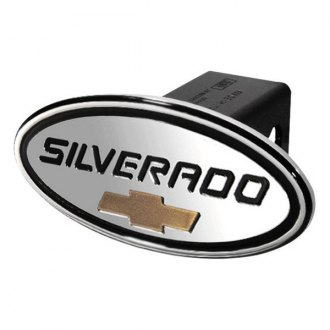 DefenderWorx® - Oval Hitch Cover with Black Silverado Logo and Gold Bowtie