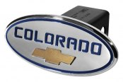 "DefenderWorx® - 2"" Chevy Colorado Style Blue Hitch Cover with Gold Bowtie"
