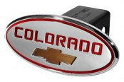 "DefenderWorx® - 2"" Chevy Colorado Style Red Hitch Cover with Gold Bowtie"