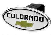 "DefenderWorx® - 2"" Chevy Colorado Style Black Hitch Cover with Gold Bowtie"