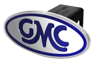 DefenderWorx® - GMC Style Blue Hitch Cover - Inscribed GMC Classic Style