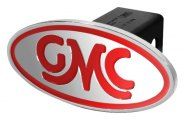 DefenderWorx® - GMC Style Red Hitch Cover - Inscribed GMC Classic Style