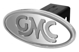 DefenderWorx® - GMC Style Silver Hitch Cover - Inscribed GMC Classic Style