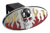 DefenderWorx® - Red / Yellow Hitch Cover - Flames with Chromed Skull Style