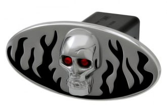DefenderWorx® - Black Hitch Cover - Flames with Chromed Skull Style