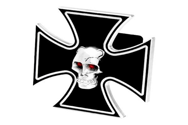 DefenderWorx® - Black Hitch Cover - Iron Cross with Chromed Skull Style