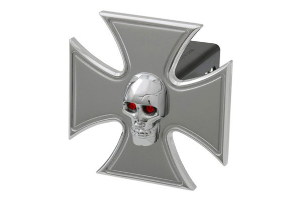 DefenderWorx® - Polished Hitch Cover - Iron Cross with Chromed Skull Style