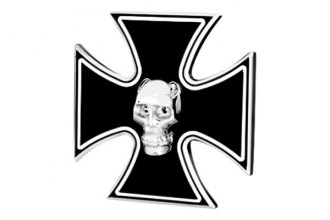 DefenderWorx® - Black Hitch Cover - Iron Cross with Chromed Skull Style with LED Lights