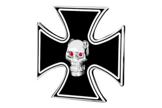 DefenderWorx® - Polished Hitch Cover - Iron Cross with Chromed Skull Style with LED Lights