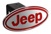 "DefenderWorx® - Jeep Style Oval Red Hitch Cover for 2"" Receiver"