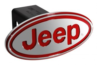 DefenderWorx® - Jeep Style Oval Red Hitch Cover for 2 Receiver