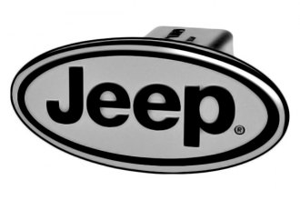 DefenderWorx® - Jeep Style Oval Black Hitch Cover for 2 Receiver