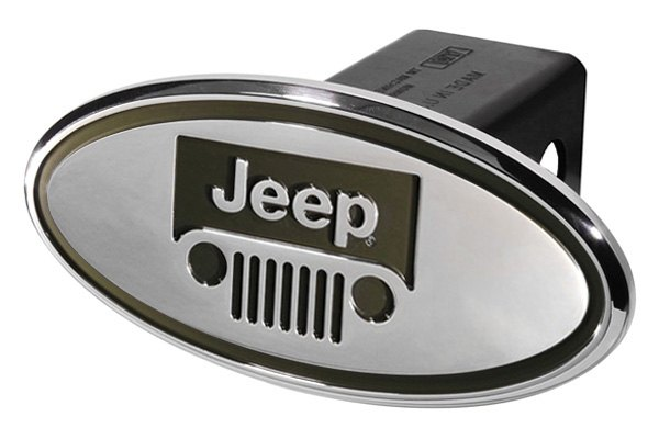 DefenderWorx® - Chrome Oval Hitch Cover with Jeep Logo and Windshield