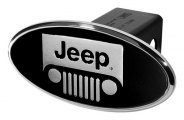 DefenderWorx® - Jeep Style Black Hitch Cover - Windshield Polished Style