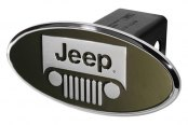 DefenderWorx® - Oval Hitch Cover with Jeep Logo and Polished Windshield