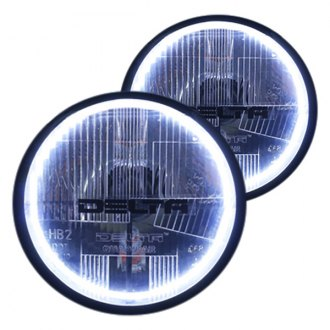 "Delta Lights® - Quad-bar™ 7"" Round Chrome Halo LED Euro Headlights with Turn Signal"