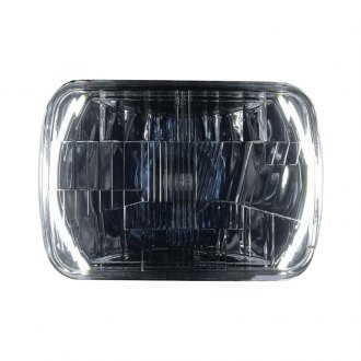"Delta Lights® - 7x6"" Rectangular Chrome LED Halo Euro Headlights"