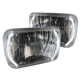 "Delta Lights® - 7x6"" Rectangular Chrome Halo LED Euro Headlights"