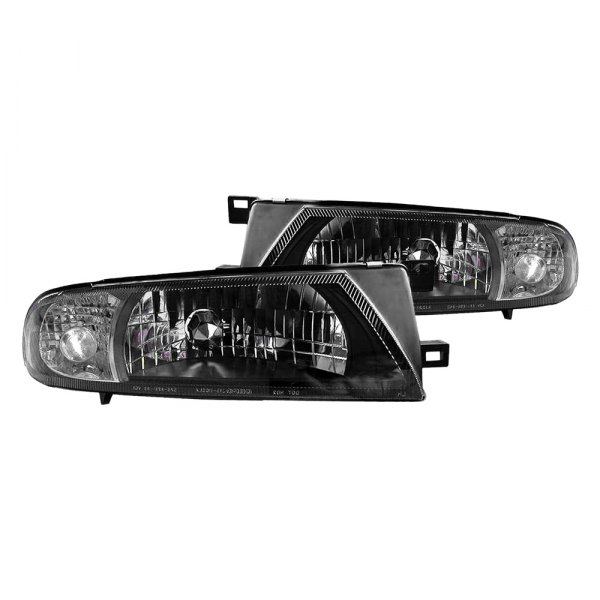 Depo® - Diamond Design Driver and Passenger Side Black Headlights