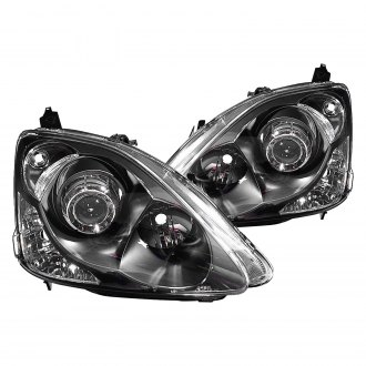 Depo® - Driver and Passenger Side Black Projector Headlights