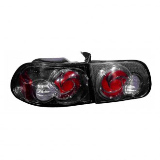 Depo® - Passenger Side Inner and Outer Carbon Fiber/Red Euro Tail Light