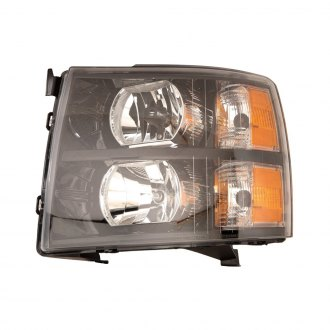 Depo® - Driver and Passenger Side Black Headlights Unit