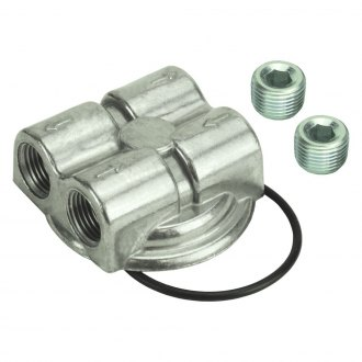 "Derale Performance® - Dual Side Ports Spin On Adapter with 1/2"" NPT Ports and 3/4""-16 Filter Thread"