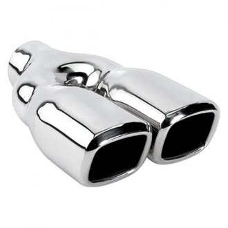 "Different Trend® - Hi-Polished Series Stainless Steel Square Angle Cut Dual Exhaust Tip (2.25"" Inlet, 9.5"" Length)"