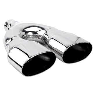 "Different Trend® - Hi-Polished Series Stainless Steel Oval Straight Cut Dual Exhaust Tip (2.25"" Inlet, 14.5"" Length)"